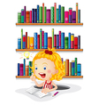 A girl studying in front of the bookshelves vector image vector image