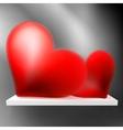 Pair of valentine heart on shelf  EPS10 vector image