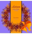 Autumn grape with orange leaves Circle and border vector image