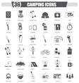 Camping travel black icon set Dark grey vector image