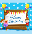 happy birthday card with two boys vector image