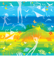 seamless summer beach pattern with people vector image