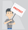 white man in a t-shirt and jeans holds a poster vector image