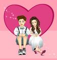 Young couple sitting on floor vector image
