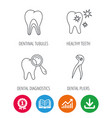 healthy teeth dentinal tubules and pliers icons vector image