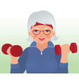 Elderly woman doing fitness vector image vector image
