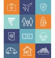 Family auto and home insurance flat icons vector image vector image