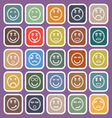 Circle face line flat icons on violet background vector image