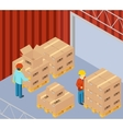 Warehouse with cardboard boxes on pallets vector image