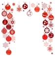 blank christmas frame with hanging balls vector image vector image
