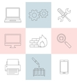 Computer service outline icons vector image