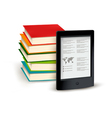 Stack of books and e-book vector image vector image