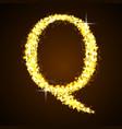 Alphabets Q of gold glittering stars vector image
