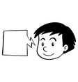 boy and speech bubble template vector image