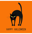 Cat arch back Yellow eyes fangs curl moustaches vector image