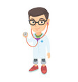 caucasian boy in doctor coat holding a stethoscope vector image