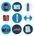 Flat icons set of fitness sport vector image