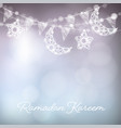 Garlands with decorative moons stars lights and vector image