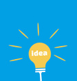 Light Bulb with Idea Word Flat Icon vector image