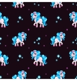 Seamless pattern with cute white cartoon horse vector image