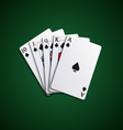 Poker cards flush leaves hand vector image