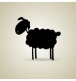 Cartoon silhouette of sheep standing sideways to vector image