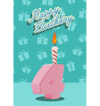 Birthday candle number 4 with flame vector image