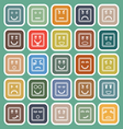 Square face line flat icons on green background vector image vector image