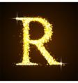 Alphabets R of gold glittering stars vector image