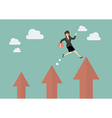 Business woman jumping up to a higher arrow vector image