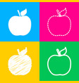 apple sign four styles of icon on vector image