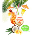 Beach tropical cocktails bahama mama and pina vector image