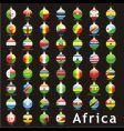 Christmas bulbs Africa flags vector image