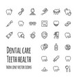dental care icons set thin line icons of vector image