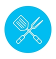 Kitchen spatula and big fork line icon vector image