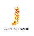 letter j logo with orange yellow red particles vector image