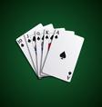 Poker cards flush leaves hand vector image