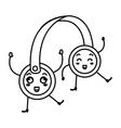 headset audio device kawaii character vector image