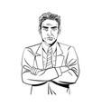 comic man business with suit tie design vector image