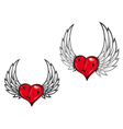 heart and wings tattoo vector image vector image