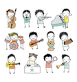 kids playing musical instruments or singing vector image vector image