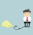 Businessman pumps up a balloon of a light bulb vector image