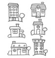 doodle of house set various hand draw vector image