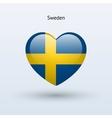 Love Sweden symbol Heart flag icon vector image