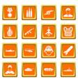 war icons set orange vector image