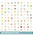 100 handicraft icons set cartoon style vector image