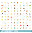 100 handicraft icons set cartoon style vector image vector image