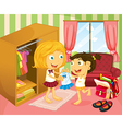 A girl helping her sister with her uniform vector image