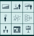 set of 9 board icons includes system structure vector image