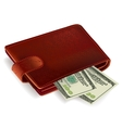 Wallet filled with bills vector image